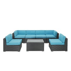 Modway Aero Outdoor Wicker Patio 7-Piece Espresso Sectional Sofa Set with Turquoise Cushions For Sale