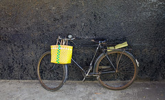 Old bicycle with a basket