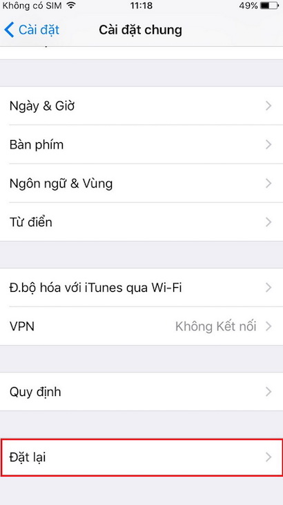 Reset iPhone để không mất dữ liệu
