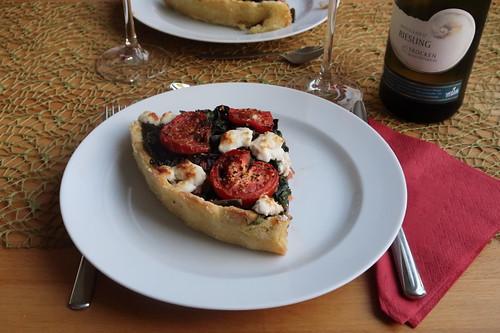 Mangold-Tarte mit Tomaten und Ziegenkäse (mein Viertel)