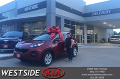 Happy Anniversary to Andrea on your #Kia #Sportage from Dennis Celespara at Westside Kia!