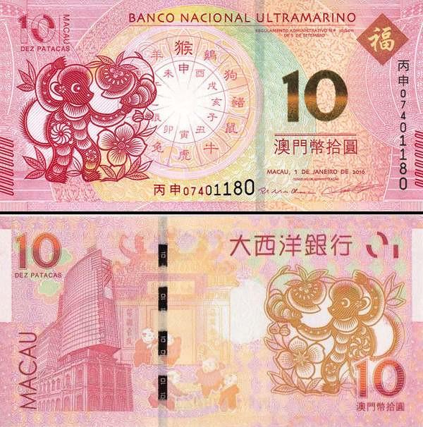 10 patacas Macao 2016, Rok opice