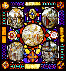 Gideon asks God for a sign, with (clockwise from top left) Baptism of Christ, Christ leaves his mother's house, Adoration of the Shepherds, Presentation in the Temple
