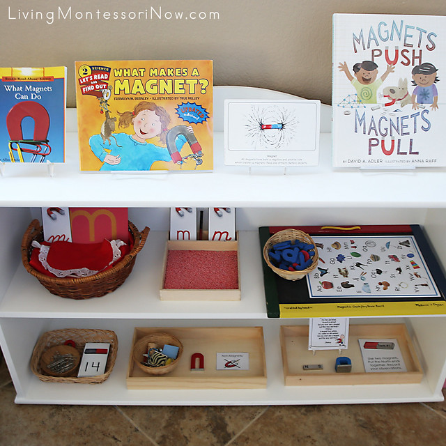 Montessori Shelves with Magnet-Themed Activities