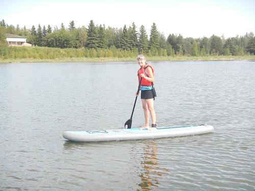 Elk Island Linda on Paddleboard standing