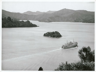 Aramoana passing Mabel Island, Queen Charlotte Sounds, Marlborough, 1969