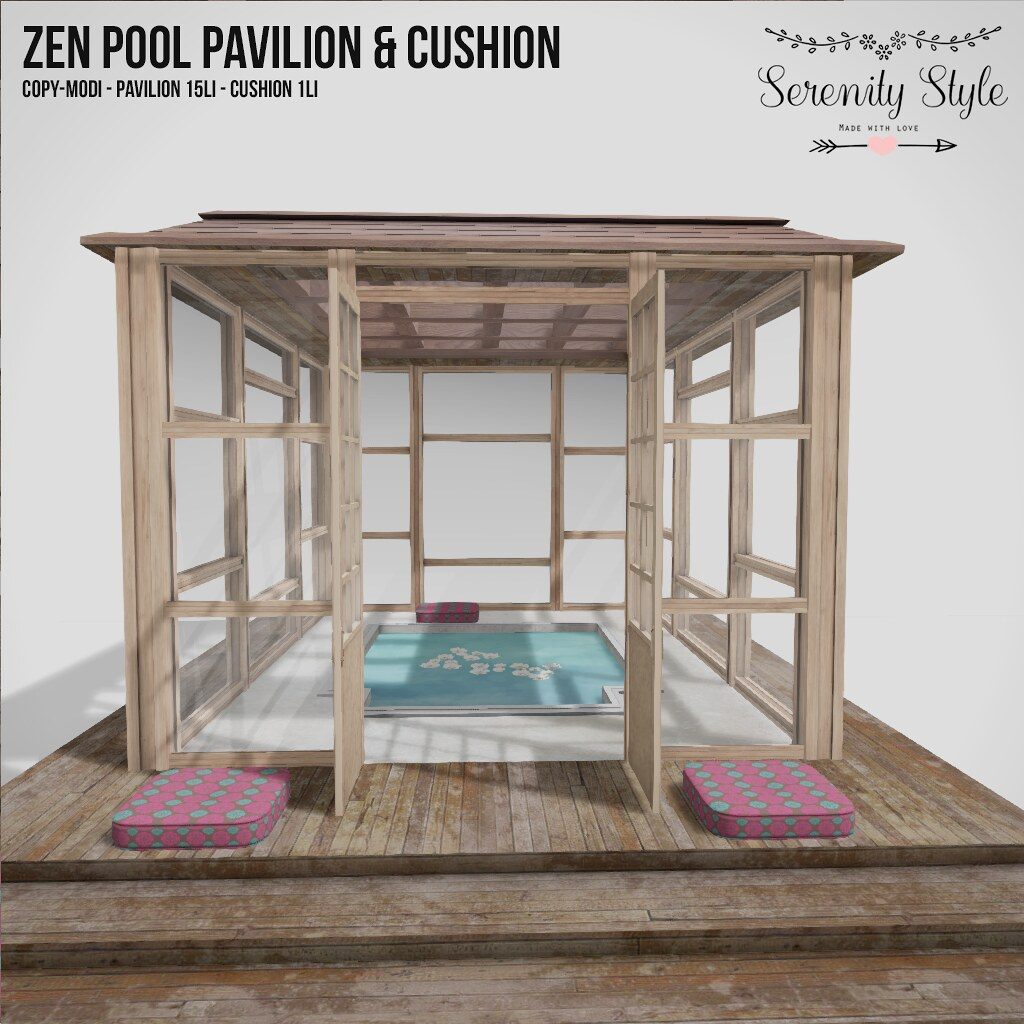 Serenity Style - Zen Pool Pavilion and cushion for Deco(c)rate - SecondLifeHub.com