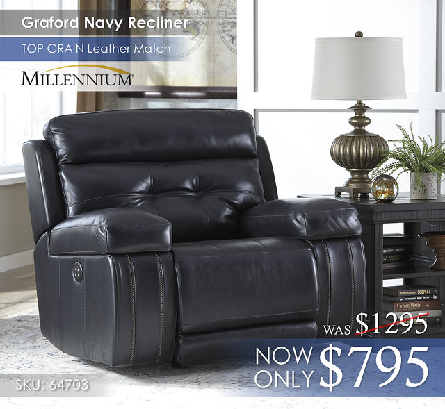 Graford Navy Recliner wCutout 64703-13