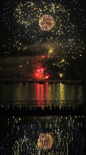 England's entry into the fireworks competition: my friend calls this 'rainbow between two universes'