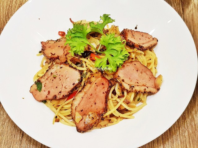 Black Pepper Smoked Duck Aglio Olio