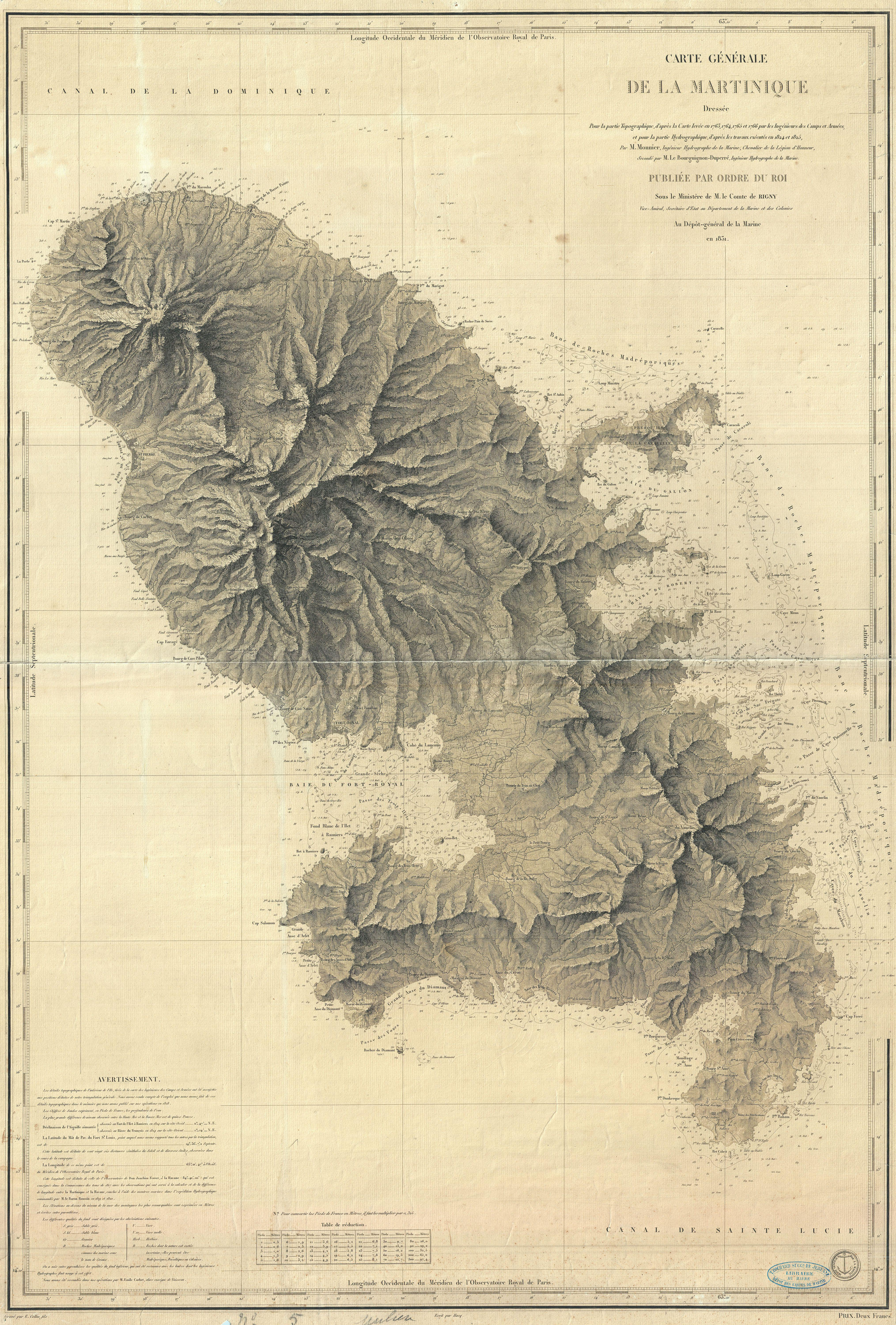 A beautiful French nautical chart or map of Martinique issued in 1831 by the Depot de la Marine. Offers sumptuous detail both inland at sea. There are countess depth soundings as well as notes on undersea features such as banks and shoals. Equally impressive detail inland with beautifully engraved topography throughout. Today Martinique, with its French Caribbean culture, lush rainforests, and stunning beaches is considered a jewel of the Caribbean. Issued by M. Monnier and M. Le Bourguignon-Duperre for the Depot-general de la Marine in 1831.