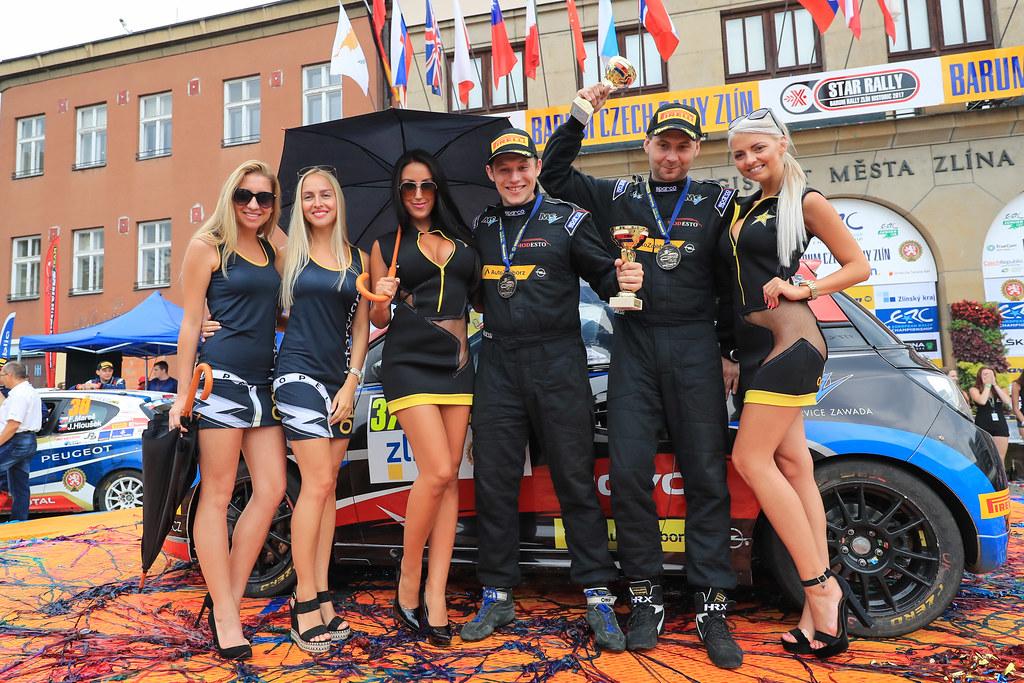 37 ZAWADA Aleksander (POL) DACHOWSKI Grzegorz (POL)  Opel Adam R2 podium during the 2017 European Rally Championship ERC Barum rally,  from August 25 to 27, at Zlin, Czech Republic - Photo Jorge Cunha / DPPI