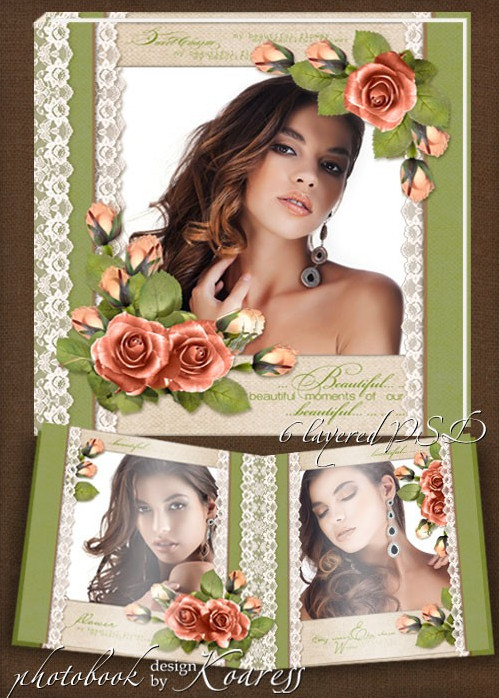 Download a template of romantic vintage photobook for Photoshop