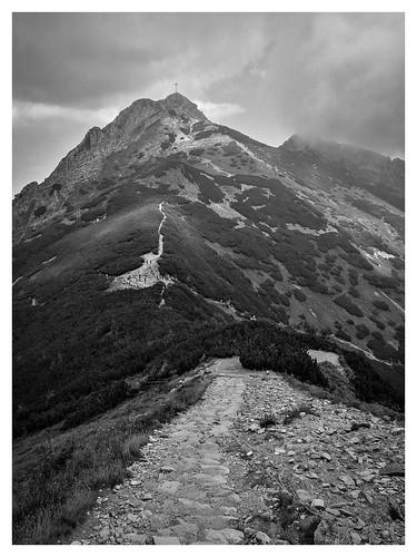 huawei p9 tatry giewont trail bw clouds hiking summer black white tatramountains poland mountains rocks peak
