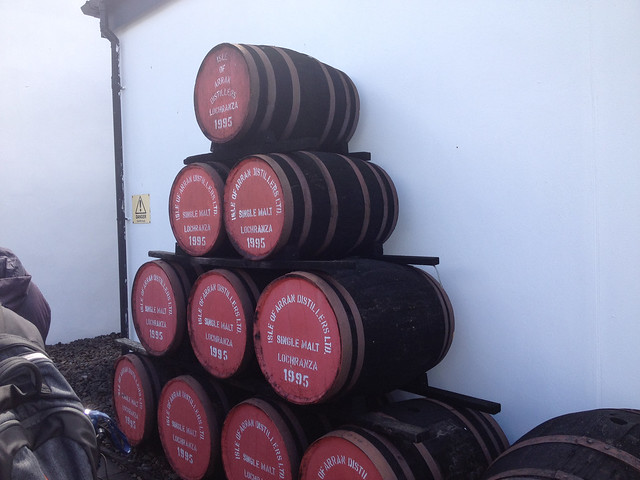 Barrels outside Arran Distillery