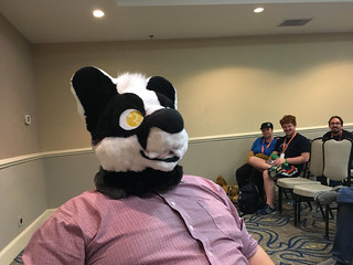 Boozy Badger with his fursuit head