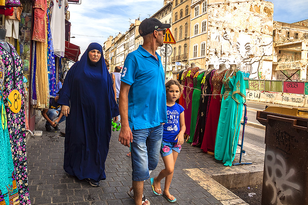 Woman in abaya--Marseille