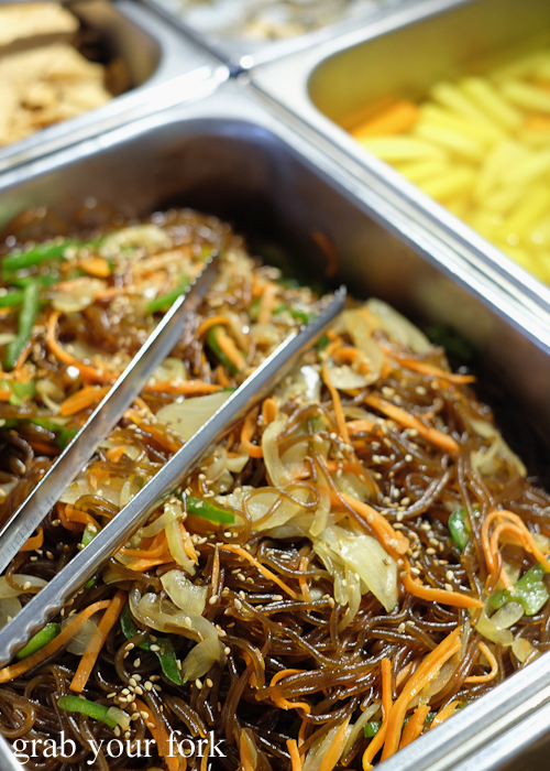 Jap chae noodles at Yass Korean BBQ Buffet in Strathfield Sydney
