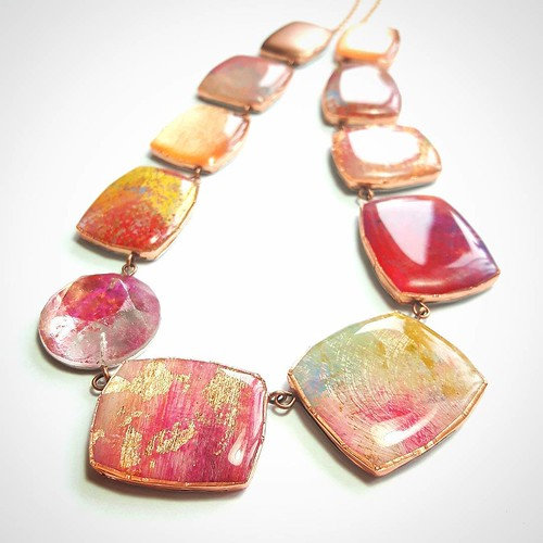 Hand-painted Paper and Resin Necklace by Dee Barnes Designs