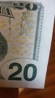 Chopmark on $20 bill