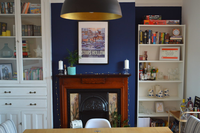 This is a picture of a navy blue feature wall