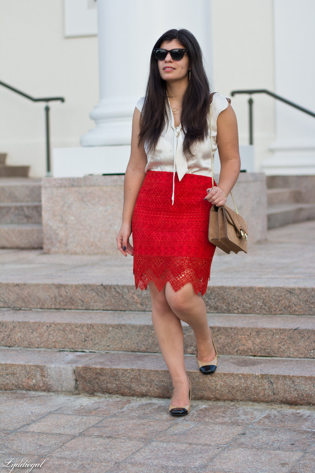 Red Lace Pencil Skirt, Cream silk bow blouse, toe cap pumps-12