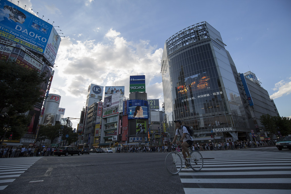 The famous Shibuya crossing