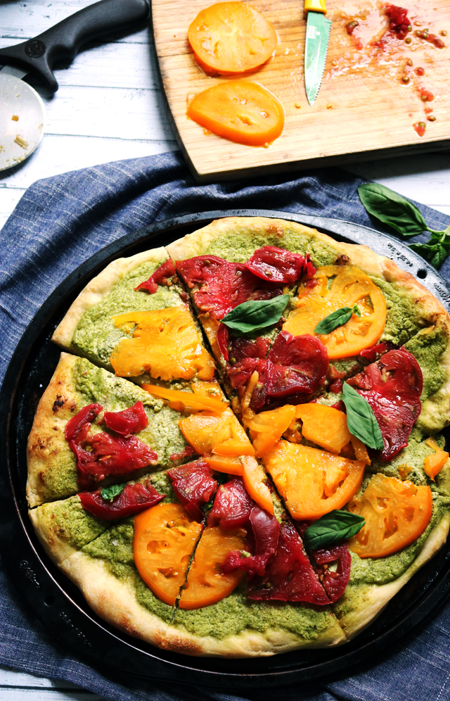 Heirloom Tomato Pizza with Whipped Pesto Ricotta