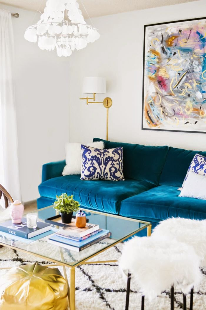 9 Sofas That Will Make You Rethink Your Neutral Decor | Bright Blue Suede Sofa Couch Decor Inspiration