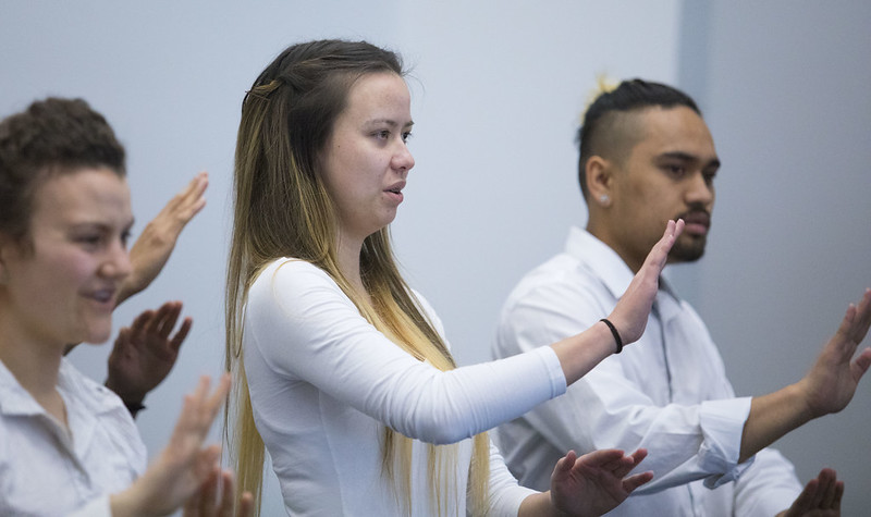 Students from Van Asch Deaf Education Centre perform national anthem