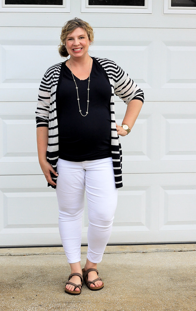 maternity white jeans, navy tee and navy stripe cardigan 7