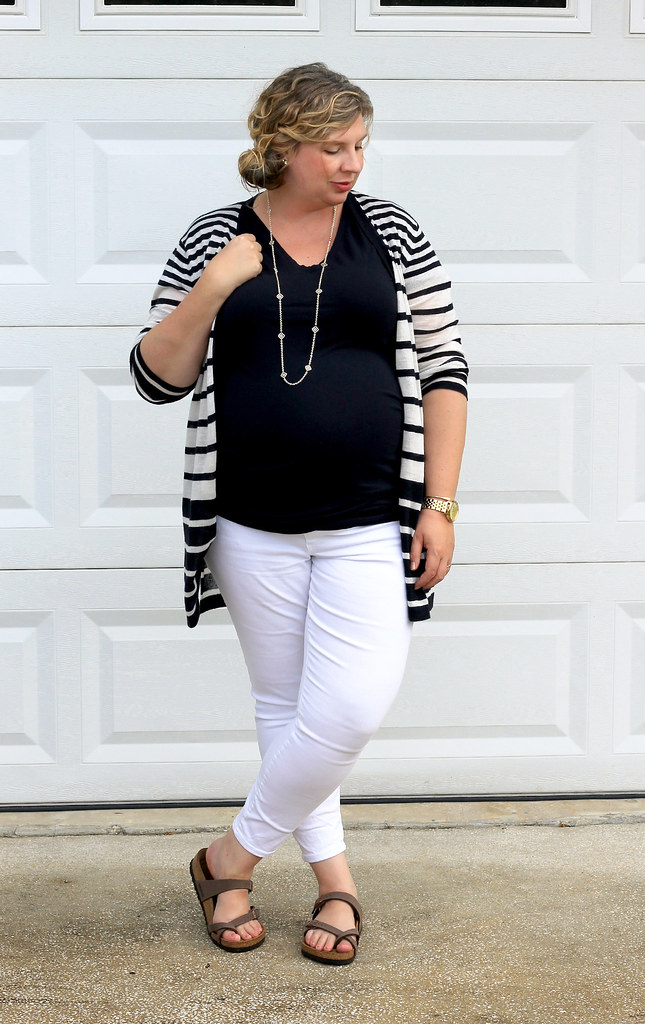 maternity white jeans, navy tee and navy stripe cardigan 6