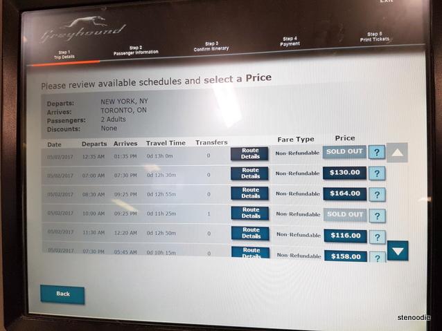 Greyhound ticket screen