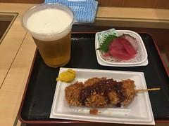 Sashimi, Tuna cutlets, beer and Sake (Kita no katsu) at Aji no Fue, Okachimachi