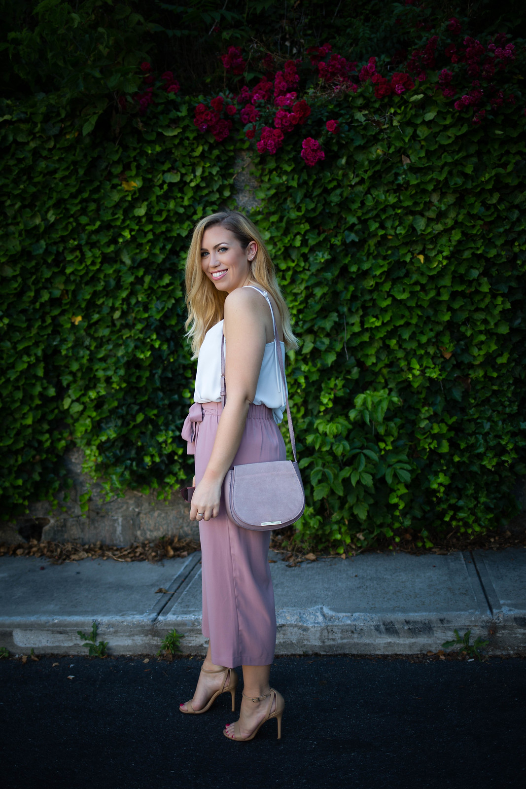 Do You Have Culottes in your Closet Yet? | ASOS Dusty Pink Culottes Lilac Crossbody Body