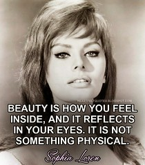 Celebrity Quotes : Heartfelt Quotes: Beauty is how you feel inside, and it reflects in your eyes. I...