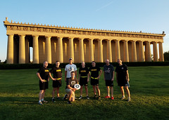 Nashville District employees exercise at Nashville Parthenon