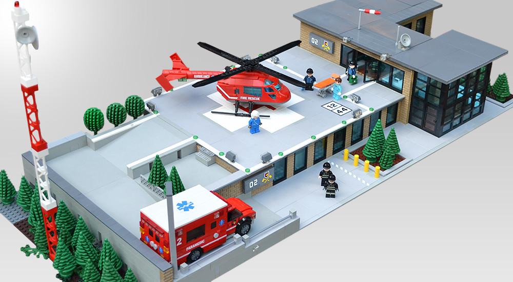Lego Fire Station Heliport MOC