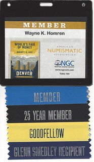 2017 ANA Wayne Homren badge and ribbons