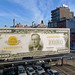 """The United States of America - one hundred thousand Dollars in gold"" Billboard as seen from The High Line in Chelsea in Manhattan in New York City, NY"