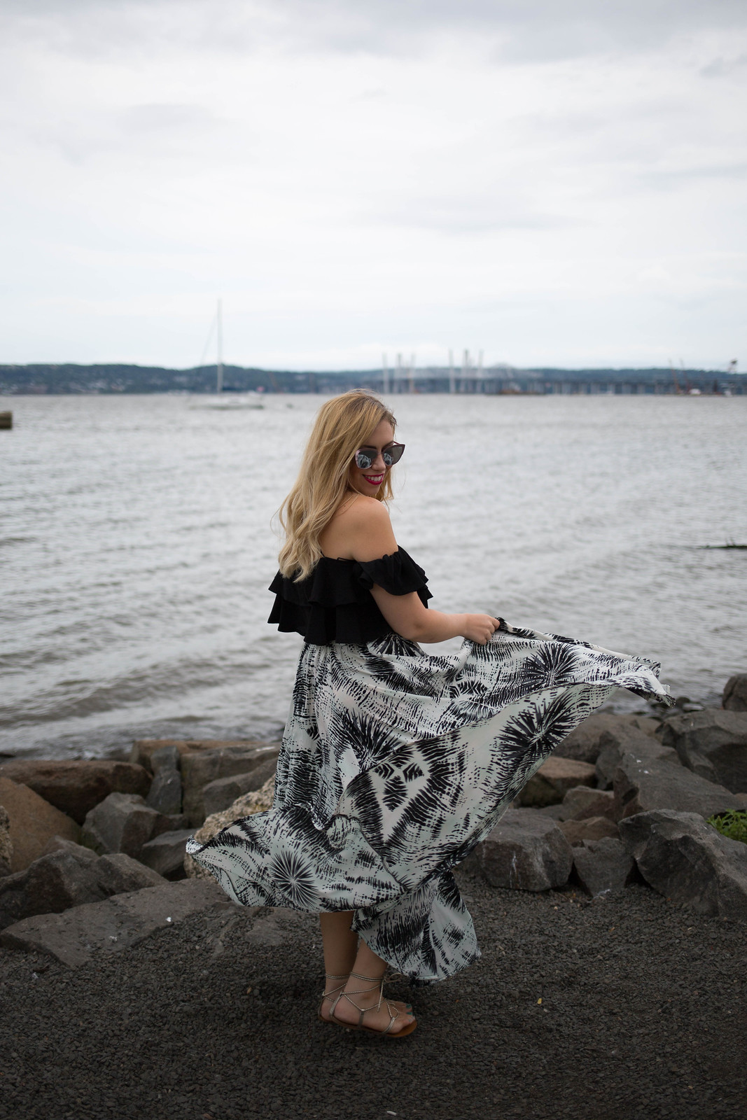 Twirl Tie Dye Maxi Skirt Black Off Shoulder Crop Top New Tappan Zee Bridge New York