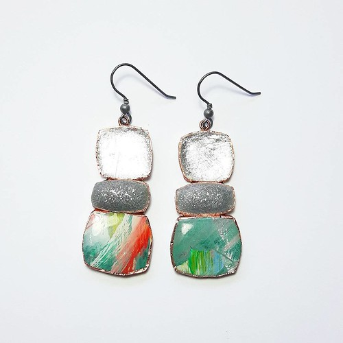 Mixed Stone Paper and Resin Earrings by Dee Barnes Designs