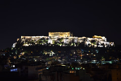 Parthenon on the top of Acropolis at night