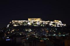 Parthenon on the top of Acropolis at night