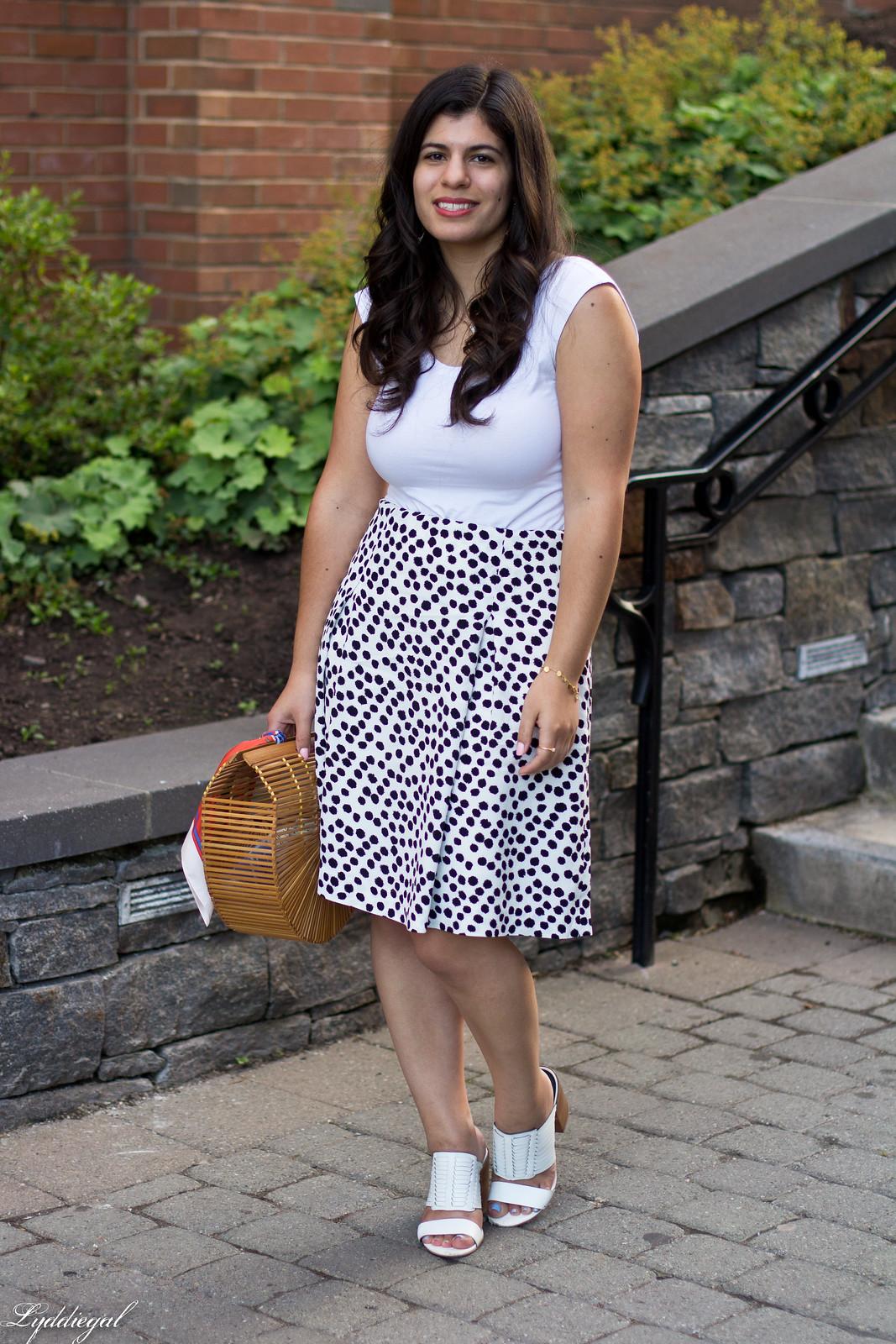 dalmatian print skirt, white bodysuit, bamboo bag-2.jpg