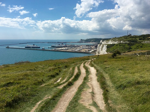 On the white cliffs, looking back to Dover