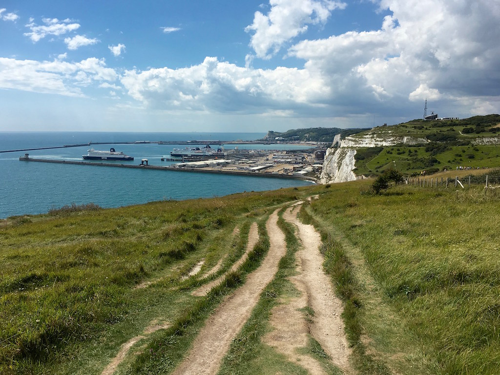 On the white cliffs, looking back to Dover Dover to Deal walk