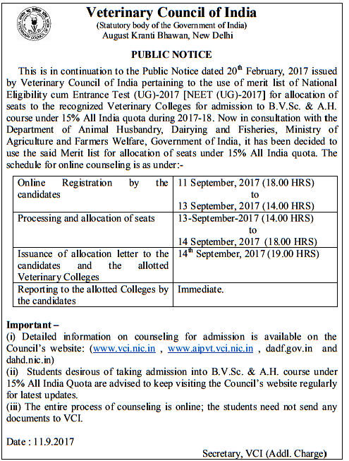 VCI Counselling Notification
