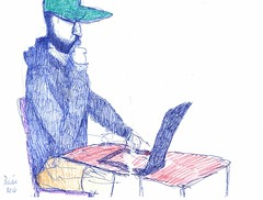 laptop hipster, ballpoint and colored pencil, washington, d.c.