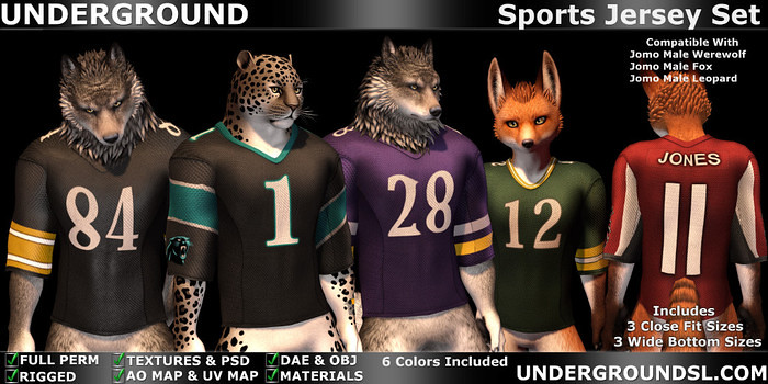 Sports Jersey Set Male Furry - SecondLifeHub.com
